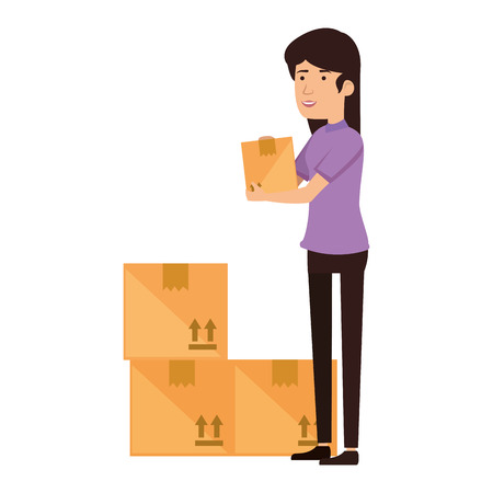 woman receiving merchandise with boxes vector illustration design