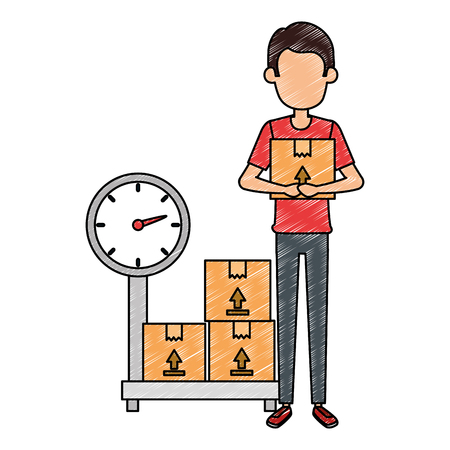delivery worker with boxes and scale vector illustration design