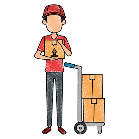 delivery worker with cart vector illustration design