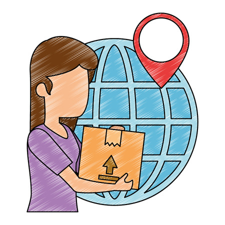 woman receiving merchandise with box and planet vector illustration Illustration