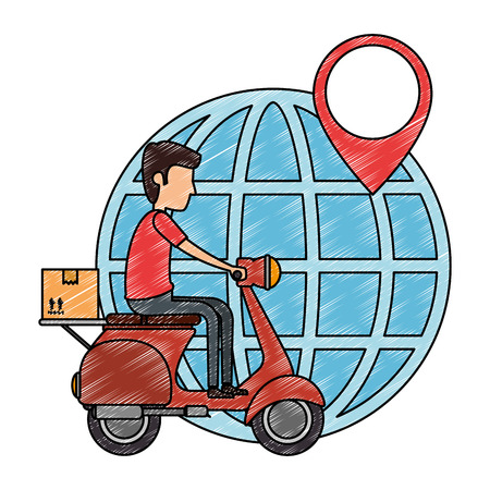 delivery worker in motorcycle and planet vector illustration design