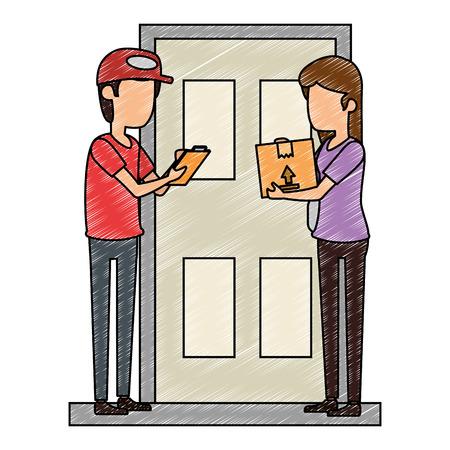 delivery worker with woman receiving in door vector illustration design