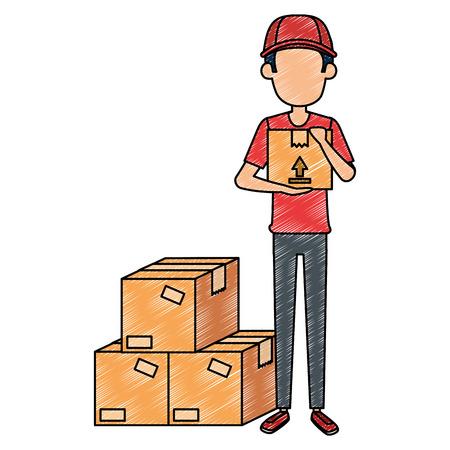 Trabajador de entrega con cajas, diseño de ilustraciones vectoriales