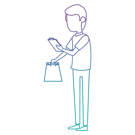 delivery worker with shopping bag and checklist vector illustration Illustration