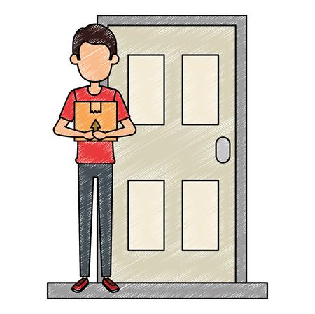 delivery worker lifting box in door vector illustration design