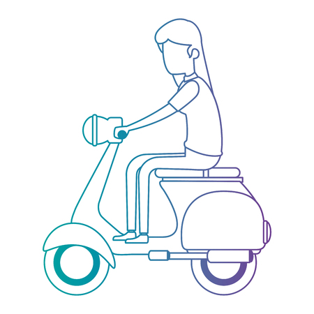 woman driving scooter motorcycle vector illustration design Archivio Fotografico - 110176639