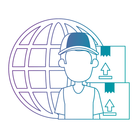 delivery worker with boxes and planet vector illustration design