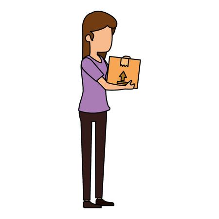 woman receiving merchandise with box vector illustration design Illustration