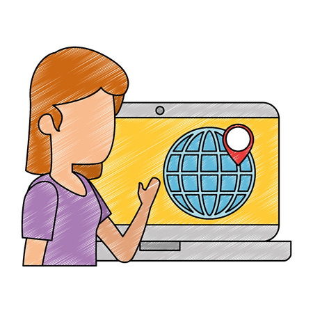 woman with laptop computer and gps app vector illustration design