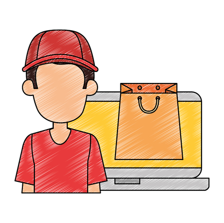 laptop with delivery worker and shopping bag vector illustration design