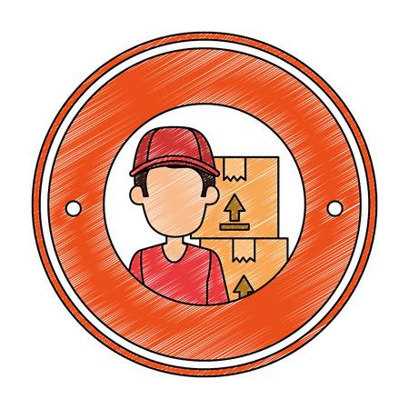 delivery worker with boxes seal stamp vector illustration design Illustration