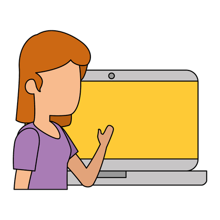 woman with laptop computer vector illustration design