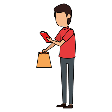 delivery worker with shopping bag and checklist vector illustration