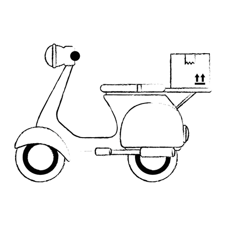 scooter motorcycle with box vector illustration design