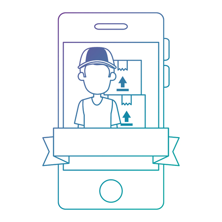 smartphone with delivery worker and boxes vector illustration design