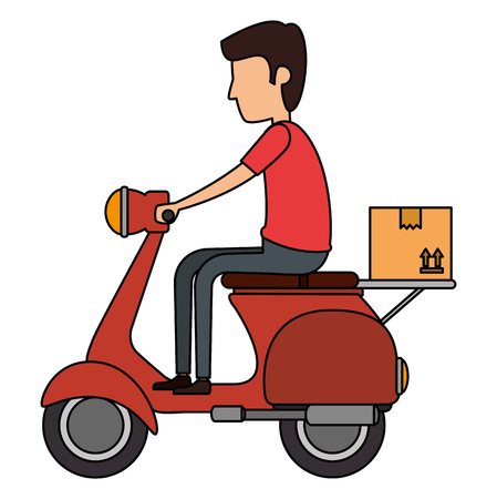 delivery worker in motorcycle vector illustration design