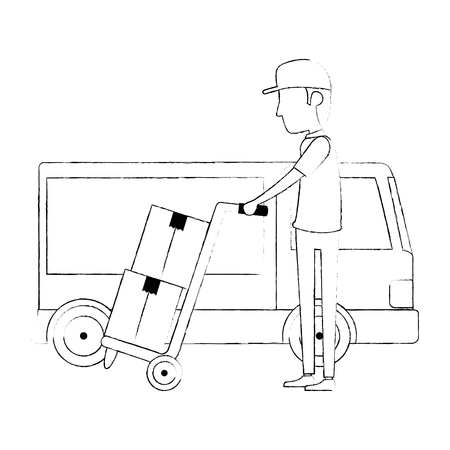 delivery worker with cart and truck vector illustration design