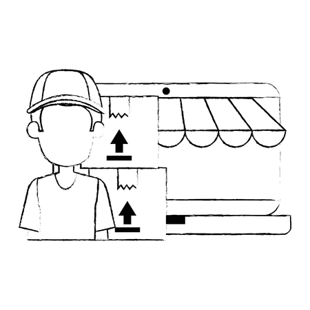 laptop with delivery worker and boxes vector illustration design