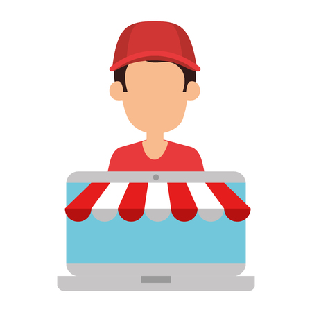 delivery worker with laptop vector illustration design