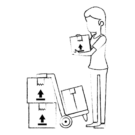 woman receiving merchandise with boxes and cart vector illustration