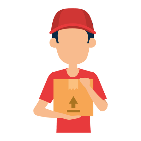 delivery worker lifting box character vector illustration design
