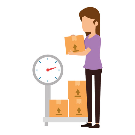 woman receiving merchandise with boxes and balance vector design