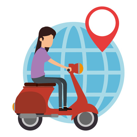 woman driving scooter and planet vector illustration design