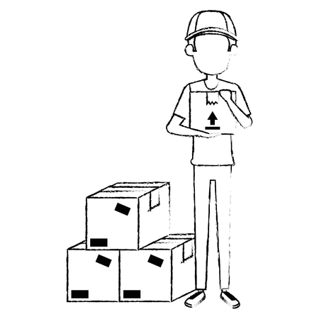 delivery worker with boxes vector illustration design