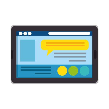 tablet electronic with chat app vector illustration design Illusztráció