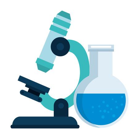 Laboratorio de microscopio con tubo de prueba, diseño de ilustraciones vectoriales