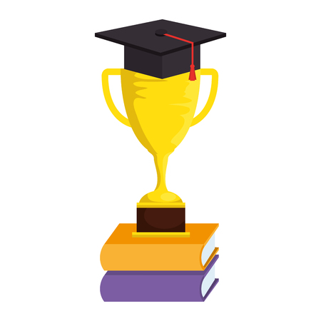 books with trophy cup and graduation hat vector illustration design