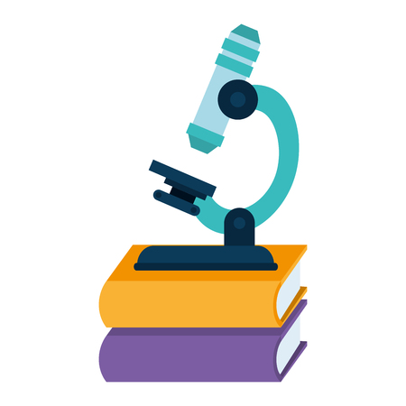 pile text books with microscope vector illustration design Ilustrace