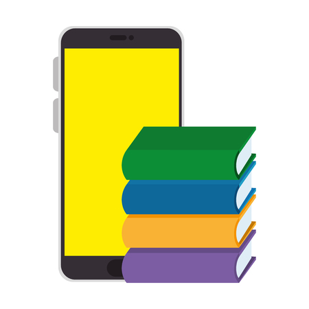 smartphone with pile text books vector illustration design