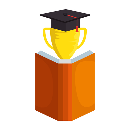 text book with trophy and hat graduation vector illustration design