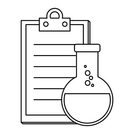laboratory tube test flask and checklist vector illustration design Ilustración de vector