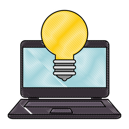 laptop with bulb light vector illustration design Illustration