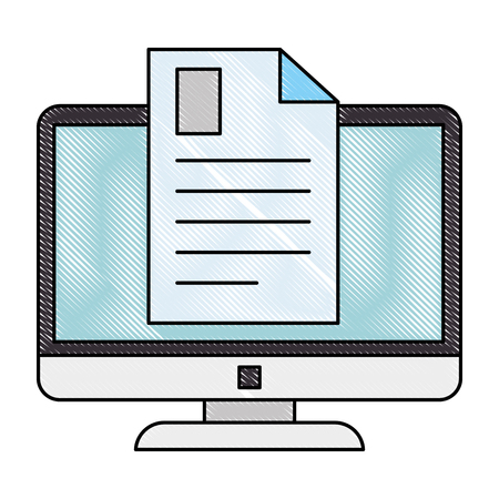 electronic document with computer vector illustration design  イラスト・ベクター素材