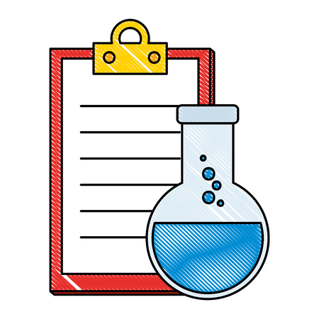 laboratory tube test flask and checklist vector illustration design