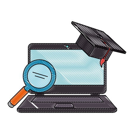 laptop with magnifying and hat graduation vector illustration design Stock fotó - 110154551