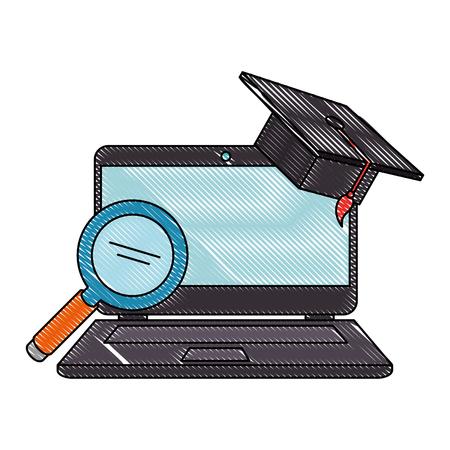 laptop with magnifying and hat graduation vector illustration design Ilustração