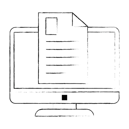 electronic document with computer vector illustration design Illustration