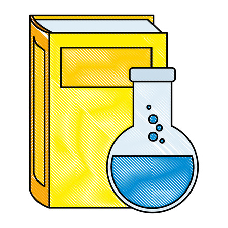 text book with tube test vector illustration design