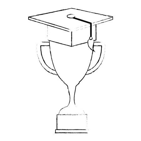 trophy cup with graduation hat vector illustration design