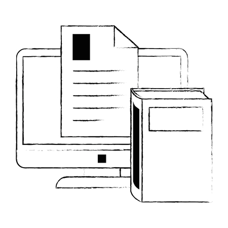 electronic book with computer and document vector illustration