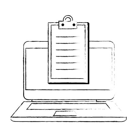 laptop computer with checklist vector illustration design