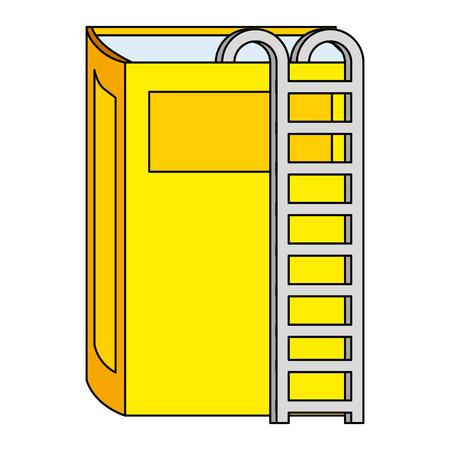 Libro de texto con escaleras, diseño de ilustraciones vectoriales