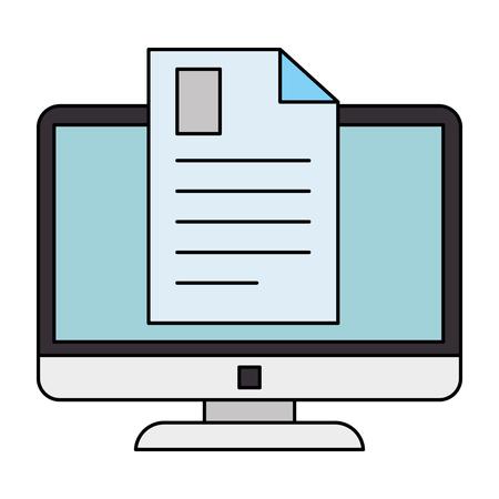 electronic document with computer vector illustration design Иллюстрация