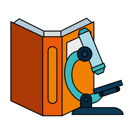 text book with microscope vector illustration design