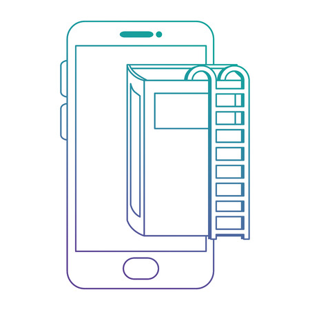 text book with stairs and smartphone vector illustration design