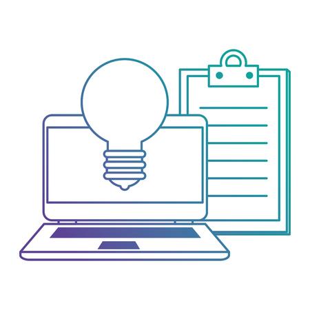 laptop with bulb light and checklist vector illustration design Ilustracje wektorowe
